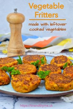 Vegetable Fritters made with Leftover Cooked Vegetables. Quick and easy to make, these patties are delicious and perfect for using up any vegetable leftovers. Vegetable Fritters from Leftover Cooke Healthy Side Dishes, Healthy Meals For Kids, Quick Easy Meals, Healthy Snacks, Vegetable Dishes, Vegetable Recipes, Vegetarian Dinners, Vegetarian Recipes