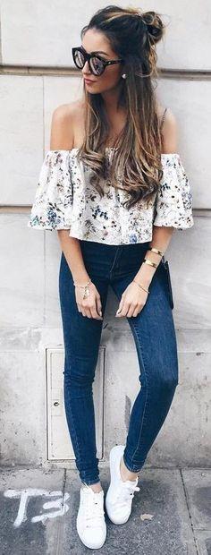 off the shoulder jeans