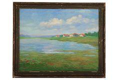 Lake Horizon on OneKingsLane.com oil on canvas/wood frame 22.75 x 1.25W x 18.75H $295/700 vintage serene landscape