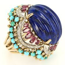 Vintage 14 Karat Yellow Gold Lapis Ruby Turquoise Diamond Cocktail Ring Estate Fine..