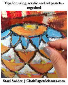 Mixed-media painting techniques I can use! #acrylic #oilpastels #painting…