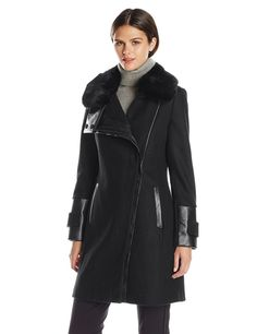 Via Spiga Women's Wool Coat with Ultra Soft Faux Fur Collar, Midnight, 8 Fancy Dress Store, Coats For Women, Clothes For Women, Casual Dresses, Dresses For Work, Faux Fur Collar, Down Coat, Mantel, Wool Blend