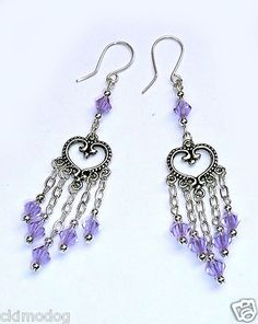Genuine Alexandrite Swarovski Crystal & SS Chain Dangle Earrings $26.99