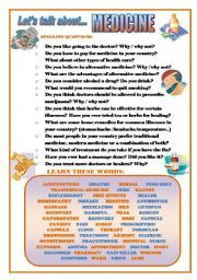 English worksheet: LET´S TALK ABOUT MEDICINE (SPEAKING SERIES 41) English Teaching Materials, Teaching English, Vocabulary Worksheets, English Vocabulary, Conversation Questions, Topics To Talk About, Social Behavior, Teaching Tips, Alternative Medicine