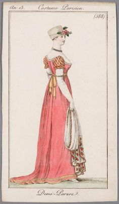"1806- ""Demi Parure, referring to the necklace and 2 bracelets. Notice sleeves are coordinating but not same as rest of the dress."