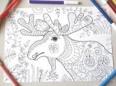 moose coloring book elk adults colouring kids totem animal лось elg älg download colouring printable moose print digital lasoffittadiste