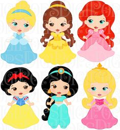LITTLE PRINCESSES Colored Digital Clip Art Set -Personal and Commercial- Cinderella, Belle, Ariel, Snow White, Sleeping Beauty, Jasmine by DigiPops on Etsy https://www.etsy.com/listing/194008562/little-princesses-colored-digital-clip