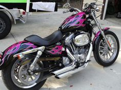 Before and after paint pics - Harley Davidson Forums Custom Motorcycle Paint Jobs, Pink Motorcycle, Chopper Motorcycle, Custom Bikes, Harley Davidson Forum, Pink Bike, Harley Bikes, Hot Bikes, Cool Motorcycles
