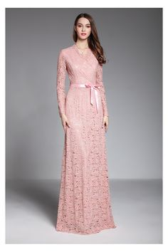 Shop Pink Long Sleeve Lace Formal Evening Dress With Sash online. SheProm offers formal, party, casual & more style dresses to fit your special occasions. Hijab Evening Dress, Formal Evening Dresses, Bright Pink Dresses, Dress Brokat, Winter Dress Outfits, Vestido Casual, Schneider, Mode Hijab, The Dress