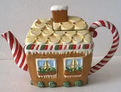 Christmas Gingerbread House teapot .... candy cane handle and spout, lozenges as roof tiles, ceramic