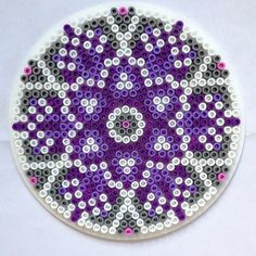 Mandala hama perler beads by knitirene Perler Bead Designs, Hama Beads Design, Perler Bead Art, Fuse Bead Patterns, Perler Patterns, Beading Patterns, Pearler Beads, Fuse Beads, Christmas Perler Beads