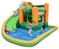 This massive inflatable backyard play zone includes a water slide, bounce area, climbing wall, splash pool, and more... all-in-one.