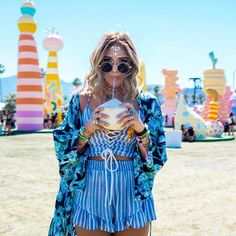 Check Out The Best Coachella Looks So Far - Cool Coachella Festival Summer Outfit Matching Blue Two Piece Boho Chic Accessories
