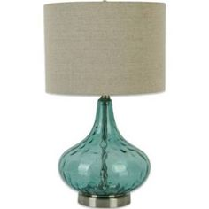 """Florence Glass Droplet Table Lamp In Teal With Linen Shade 25"""""""
