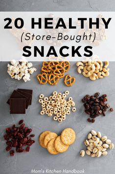 Tips for buying healthy store bought snacks for kids and adults as part of a balanced diet or for weight loss. A list of the top healthy packaged choices. # Healthy Snacks for adults Healthy Store Bought Snacks Mom's Kitchen Handbook Healthy Store Bought Snacks, Healthy Toddler Snacks, Healthy Snacks For Adults, Snacks For Work, Healthy Work Snacks, Healthy Meal Prep, Easy Snacks, Healthy Kids, Clean Eating Snacks