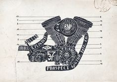 13 hand drawn motorcycle engine illustration diagram