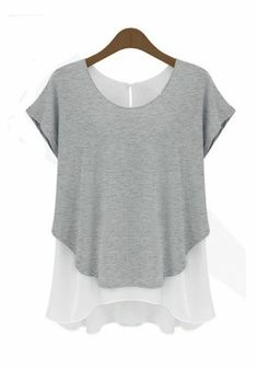 Grey Plain False 2-in-1 Short Sleeve Chiffon T-Shirt