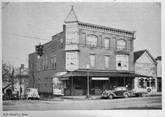 Robert D. Hood Store on corner of Wheeling Avenue and North 10th Street. Later housed Aggie's Coffee Shop, The Gaslight Inn, and currently the Downtown Arena Restaurant/Bar.