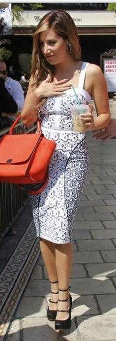 Skirt and shirt – Rebecca Minkoff Purse – Celine Celebrity Style Guide 70d583f3b69
