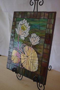 Glass Mosaic Water Lilies Mosaic Wall Hanging