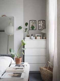 Calm tranquil bedroom in neutral tones - soft linen curtains - IKEA chest of drawers Bedroom Green, Room Ideas Bedroom, Small Room Bedroom, Home Bedroom, Ikea Bedroom Decor, Bedrooms, Minimalist Bedroom Small, Cozy Room, Aesthetic Room Decor