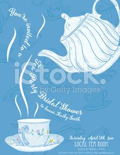 Cute teapot and cup bridal shower invitation royalty free stock cute teapot and cup bridal shower invitation royalty free stock vector art filmwisefo Gallery