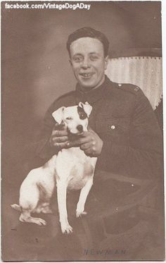 Original vintage real photo postcard - WWII soldier and Jack Russell Terrier dog