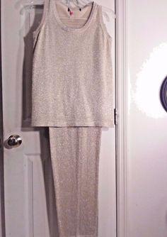 Women's Gold Glitter Style Formal Evening Pants Suit Size Medium MINT CONDITION  #LisaOriginal #PantSuit