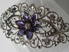 Flower Cuff Bracelet, Violet Dahlia on Silver Floral Filigree Cuff. $20.00, via Etsy.