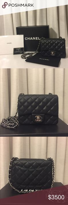 """Authentic Chanel Mini Square Flap Authentic Chanel Mini Square Flap Black Caviar leather w/ Silver Hardware Comes with box, dustbag, card, dust cloth Looks brand new, barely worn No exterior flaws Square Flap Diamond Quilted leather Leather has a shine to it 1 interior pocket with zipper Inner zipper is broken Only zips half way Mademoiselle Turn Lock Long shoulder strap, 21"""" inch drop Can be worn over shoulder or cross body.. Reasonable offers welcome CHANEL Bags Crossbody Bags"""