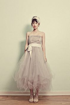 Strapless Tea Length Tulle Formal Dress. brides maid