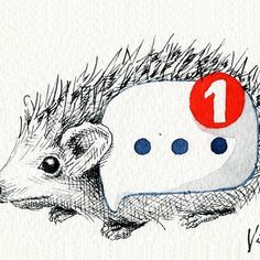 Oh that wee red dot is like a spike, pokes me all the time!  .  Published by @voguemetw vol.01/2017  .  .  .  #hedgehog #animalart #illust #illustrator #illustration #illustrationart #art #artsy #artist #artwork #drawing #doodle #sketch #ink #inkdrawing #watercolor #instaart #instadraw #instaartist #handdrawn #alert #notifications #message #ilustracion #иллюстрация #イラスト #插畫#插圖 #手繪 #viafang