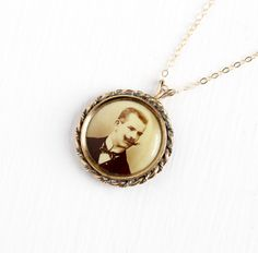 Antique Round Photographic Pendant Necklace  by MaejeanVintage
