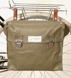 Vintage Vinyl Bicycle Pannier | comes with strap to also carry as messenger bag