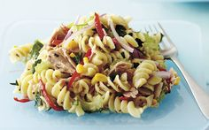Warm tuna pasta salad recipe - By Australian Women's Weekly, A tasty, healthy dish perfect for lunch, dinner or even a quick filling snack. This warm tuna pasta salad is also good cold the next day or as a packed lunch. Tuna Salad Pasta, Easy Pasta Salad Recipe, Tuna Recipes, Pasta Recipes, Cooking Recipes, Salad Recipes South Africa, Spiral Pasta, Healthy Dishes, Snack