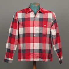 Mens 1950s Shirt  Deadstock Buffalo Check by jauntyrooster on Etsy