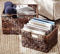 "Havana Utility Baskets #potterybarn Utility Basket: 12"" square, 8"" high Large Basket: 16"" wide x 13"" deep x 10.5"" high"