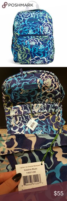 NWT Vera Bradley Lighten Up Grande Backpack New and never used!!! Vera Bradley backpack in the cute retired print Katalina Blues. Big & spacious bag, perfect for school, work, or travel!! Vera Bradley Bags Backpacks