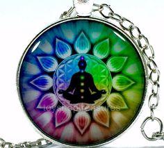 New Buddha Meditation Chakra Necklace Buddha Chakra Pendant - Silver bf Chakra Necklace, Pendant Necklace, Buddha Jewelry, Buddha Meditation, Fashion Necklace, Pendants, Brooch, Jewellery, Glass