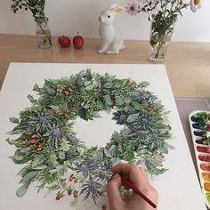 주말의 여파로 비실비실거리다가 정신차리고 다시 그림~ 점점 무성해져간다 Instagram photo by @artjin1214 #좋은하루^^ #크리스마스리스#리스#watercolor#수채화 #art#artwork#수작업#handpainting