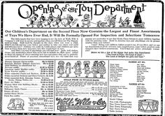 "Christmas toys advertisement, published in the Lexington Herald newspaper (Lexington, Kentucky), 29 November 1914. Read more on the GenealogyBank blog: ""Christmas Toys & Gifts from Yesteryear in Old Newspaper Ads."" http://blog.genealogybank.com/christmas-toys-gifts-from-yesteryear-in-old-newspaper-ads.html"
