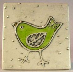Handmade ceramic tile 4''x 4'' Apple green bird by ceramiquecote, $20.00