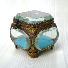 Nineteenth Century Beveled Glass Jewelry Casket with Ormolu Mounts from Tres Charmante on Ruby Lane