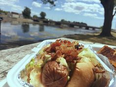 """How about a #TBT to a #FTF to cure your January Blues? #FoodTruckFridays are % without-a-doubt our favourite part of summer on the Bay of Quinte. Not pictured: the """"Grilled Cheese Sticks"""" that were the perfect partner in crime for this bacondog from Two Guys and Some Fries on Everett and Bridge Street in Belleville. #ThrowbackThursday #FoodTruckFriday #bayofquinte #bellevilleontario"""