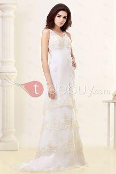 セクシーカラム/シースストラップVネックティアードチャペルトレインレースウェディングドレス