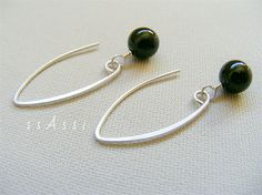 Saturday's ssAssi studio feature - Argentium Sterling Silver & glossy black onyx bead earrings