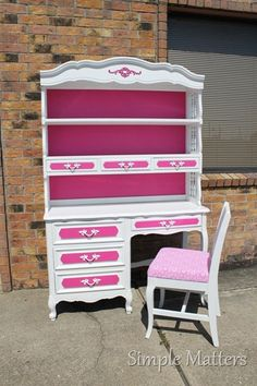 White and Hot Pink French Desk and Hutch