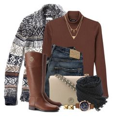 """""""Cardigan & Riding Boots"""" by brendariley-1 ❤ liked on Polyvore featuring moda, Abercrombie & Fitch, Monki, Tory Burch, Faliero Sarti, GUESS, Edge of Ember, Waterford, women's clothing e women"""