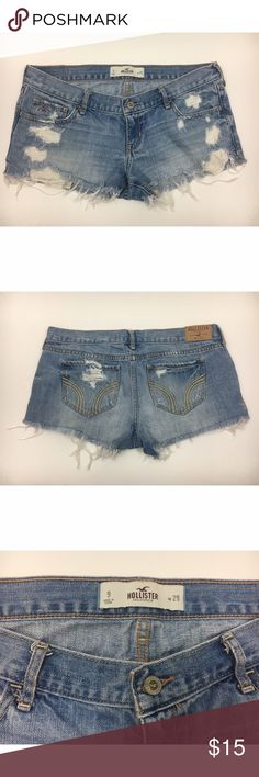 Hollister Denim Cutoffs These Hollister Denim jean short-shorts are a size 9/29w. They're 100% cotton. The bottom edges are frayed and the front pockets are visible/peak out during wear. Hollister Shorts Jean Shorts