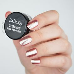 Create chrome nails at home using regular nail polish! Read about the IsaDora Chrome Nail Powder on www.nailsbyic.com